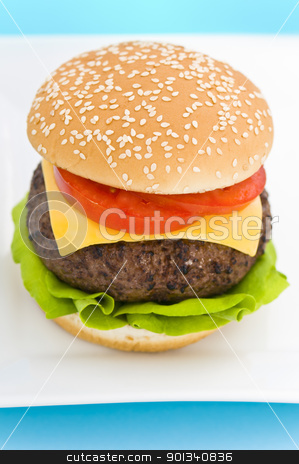 Classic Hamburger with cheese tomato and salad stock photo, Classic Hamburger with cheese tomato and salad on dishware by Ulrich Schade
