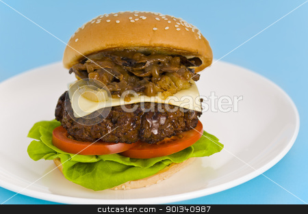 Classic Hamburger with cheese tomato salad stock photo, Classic Hamburger with cheese tomato salad and roasted onions by Ulrich Schade