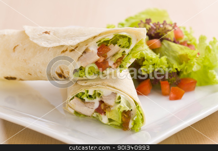 Two avocado wrap with a healthy side salad stock photo, Two avocado wrap with a healthy side salad decorated by Ulrich Schade