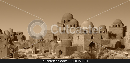 mausoleums in Aswan stock photo, scenery with lots lots of mausoleums in Aswan (Egypt), brown toned by prill
