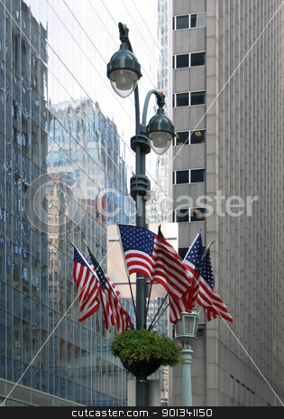 New York city view stock photo, detailed city view of New York (USA) with street lamp and american flags by prill