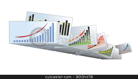 Graphs with the arrows in the archives stock vector clipart, Graphs with arrows up, pulled out a card from the series in the archive. White background. by LiborF
