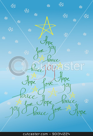 Christmas card or background stock photo, Christmas card or background, tree with yellow star and hand written greetings by Ulrich Schade