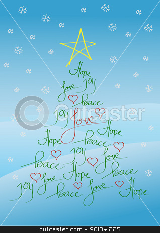 Christmas card or background stock photo, Christmas card or background, tree with yellow star and red hearts by Ulrich Schade