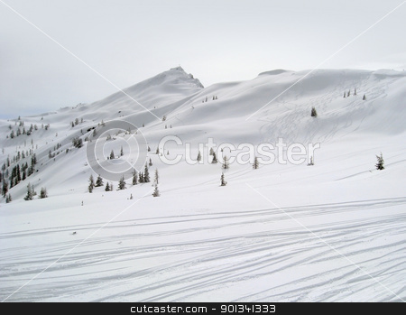 ski piste in Wagrain stock photo, Winter sports scenery in Wagrain (Austria) with ski slope in hilly ambiance with lots of snow by prill