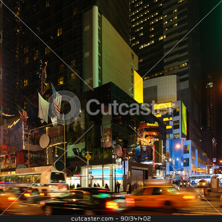 city life with Times Square at night stock photo, vivid night scenery showing the fantastic illuminated Times Square in New York (USA) with driving cars by prill
