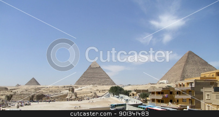 Pyramids of Giza stock photo, panoramic scenery around Giza Necropolis in Egypt with pyramids by prill