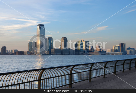 skyline of Jersey City stock photo, city view of New Jersey (USA) with Jersey City at evening time by prill