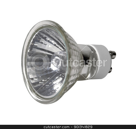 modern light bulb stock photo, angle studio photography of a light bulb isolated on white with clipping path by prill