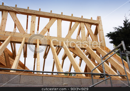 construction of the wooden frame of a roof stock photo, construction of the wooden frame of a roof by Chretien