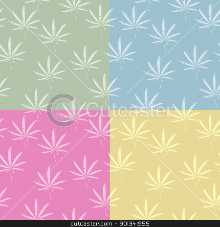 Seamless cannabis pattern stock vector clipart, A seamless grunge cannabis, marijuana leaf background in pastel colors by Richard Laschon