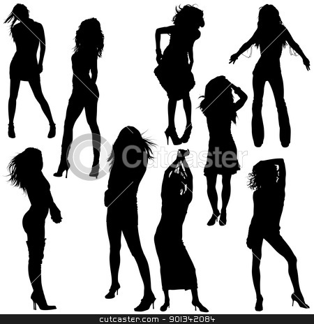 Dancing Girls stock photo, Dancing Girls - black silhouettes by derocz