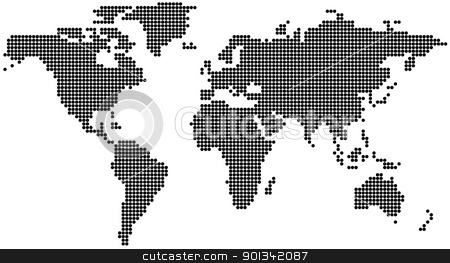 Dotted World Map stock photo, Dotted World Map - background illustration by derocz