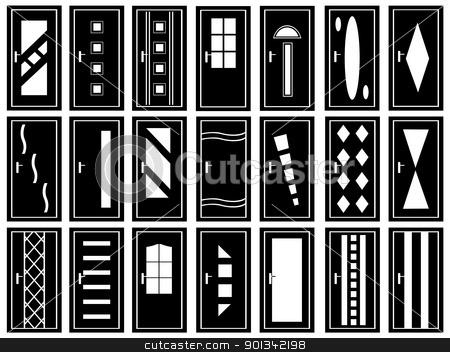 Illustration of doors stock vector clipart, Illustration of doors isolated on white by Ioana Martalogu