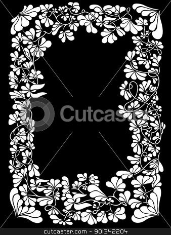 Floral frame  stock vector clipart, Floral frame with black background by Ioana Martalogu