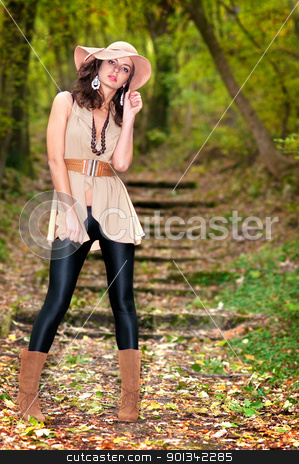 Woman in autumn park stock photo, Young sexy woman in autumn woods or park by borojoint