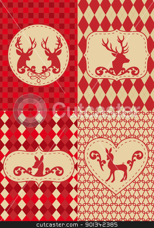 christmas pattern with deers, vector stock vector clipart, seamless christmas pattern with deers, vector set by Beata Kraus