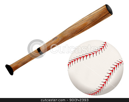 Baseball bat and ball stock photo, Baseball bat and ball, vector illustration on white background by radubalint
