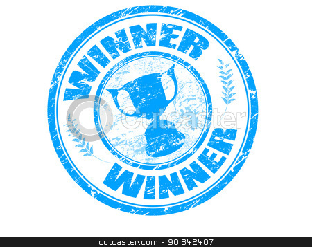 winner stamp stock vector clipart, Blue grunge rubber stamp with cup silhouette and the text winner written inside the stamp by radubalint