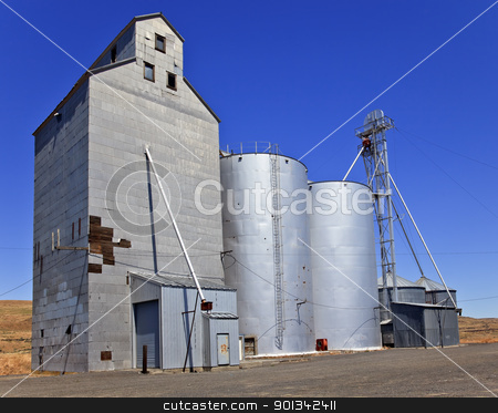 Wheat Granary Storage Palouse Washington State stock photo, Wheat Granary Storage Palouse Washington State Pacific Northwest by William Perry