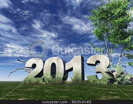 year 2013 stock photo, stone monument 2013 under cloudy blue sky - 3d illustration by J?