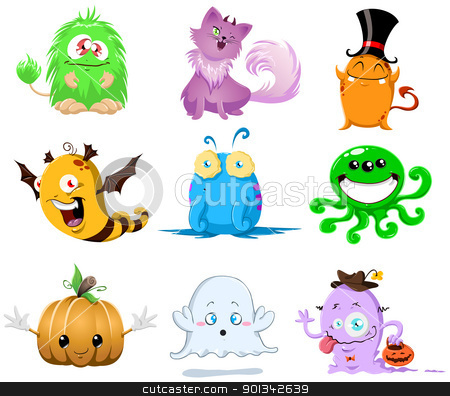 Halloween Monsters Pack stock photo, A vector illustration of cute funny and scary monsters for Halloween. by Liron Peer