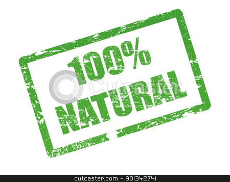 100 % natural stamp stock vector clipart, Abstract grunge office stamp with the text 100 % natural written in the middle by radubalint