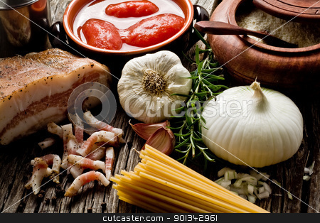 amatriciana ingredients stock photo, italian traditional pasta amatriciana ingredients on wood by maxg71