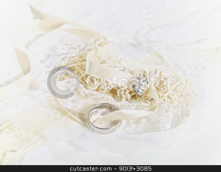 Wedding Rings stock photo, Wedding Rings With Fabric and Ribbons by instinia