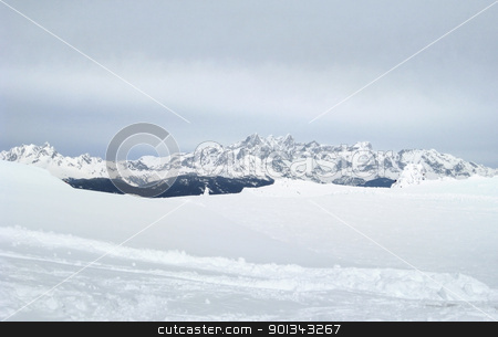 Wagrain mountain scenery stock photo, Winter scenery in Wagrain (Austria) with mountains and lots of snow by prill