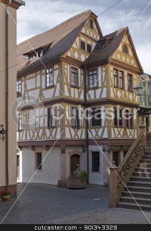 Haus der vier Gekrönten in Wertheim stock photo, pictorial half timbered house in Wertheim am Main named Haus der vier Gekrönten by prill