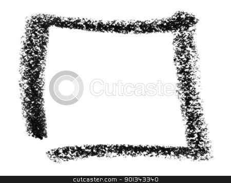 square sketch stock photo, crayon painted square in white back by prill
