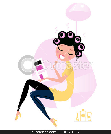 Beauty woman at the hairdresser / beauty salon stock vector clipart, Cute beautiful female sitting in hair salon and reading magazine. Vector cartoon illustration.  by Jana Guothova