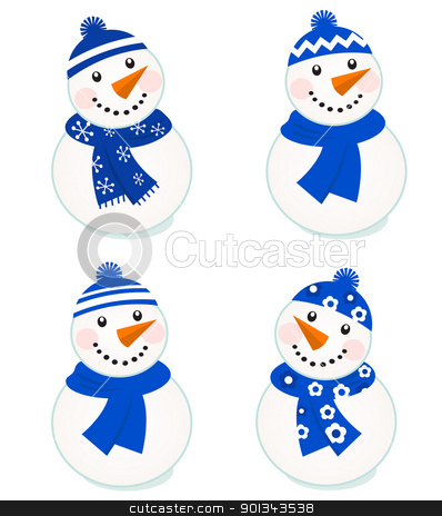 Cute vector snowmen collection isolated on white ( blue ) stock vector clipart, Vector cute christmas snowman - blue collection.  by Jana Guothova