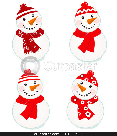 Cute vector snowmen collection isolated on white ( red ) stock vector clipart, Vector cute snowman red collection.  by Jana Guothova