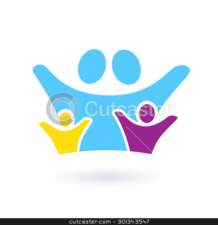 Family & community sign or icon isolated on white stock vector clipart, Two adults with childrens colorful icon. Vector Illustration  by BEEANDGLOW