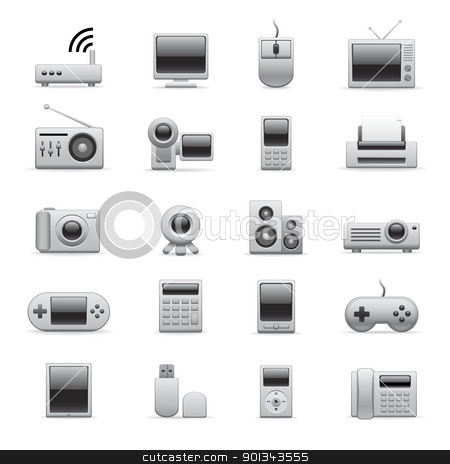 silver electronic icons stock vector clipart, electronic icons for your website or presentation by artizarus