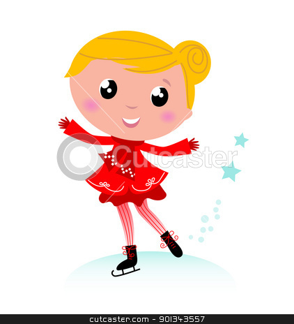 Ice skating winter little girl isolated on white  stock vector clipart, Figure skating child in christmas red costume. Vector cartoon
