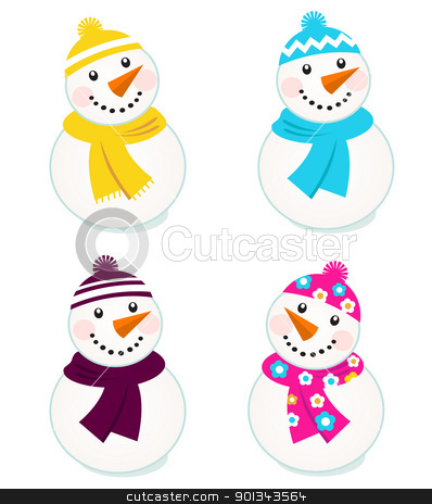 Cute colorful vector snowmen collection isolated on white stock vector clipart, Vector cute snowman collection.  by BEEANDGLOW
