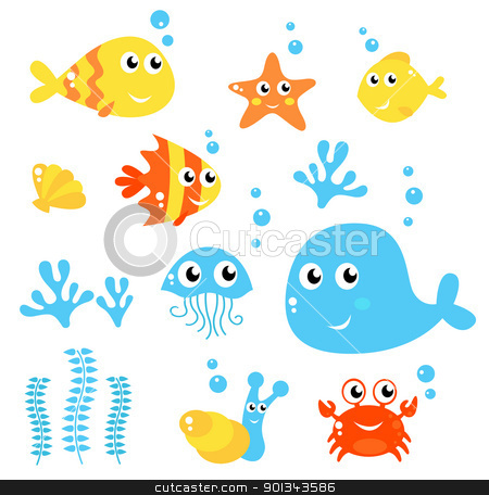 Marine Life - Sea and fishes collection isolated on white stock vector clipart, Exotic fishes and Sea animals big collection. Vector cartoon Illustration.  by Jana Guothova