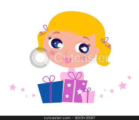 Little cute Girl with Christmas Gifts isolated on white stock vector clipart, Cute Blond Girl with Gifts. Vector cartoon Illustration.  by BEEANDGLOW