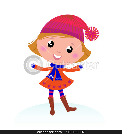 Cute little Child in Winter costume isolated on white stock vector clipart, Happy cute winter Girl isolated on white - vector  by BEEANDGLOW