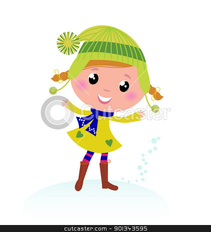 Cute little Christmas Girl isolated on white stock vector clipart, Little Winter Kid isolated on white - vector cartoon   by Jana Guothova