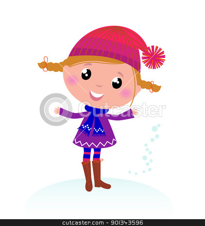 Cute little Christmas Girl isolated on white stock vector clipart, Little Girl in winter cosume isolated on white - vector cartoon   by Jana Guothova