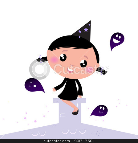 Cute little Halloween Witch with Ghosts isolated on white stock vector clipart, Vector Illustration of cute beautiful Halloween Witch.  by Jana Guothova