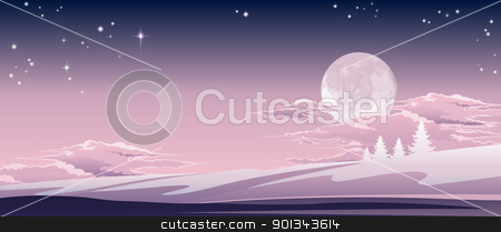 Christmas winter scene stock vector clipart, Illustration of a beautiful Christmas winter scene by Christos Georghiou