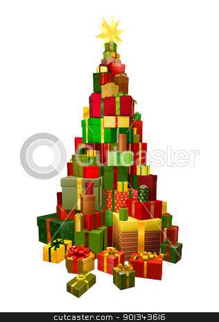 Gifts in Chritsmas tree shape illustration stock vector clipart, Pile of presents or gifts stacked in the shape of a Christmas tree by Christos Georghiou