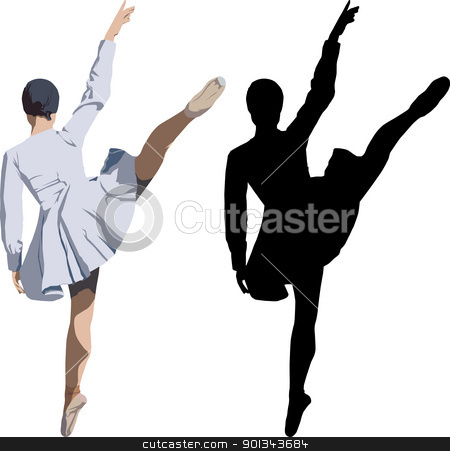 Ballerina stock vector clipart, Colour vector illustration and silhouette of dancing ballerina by Ints Vikmanis