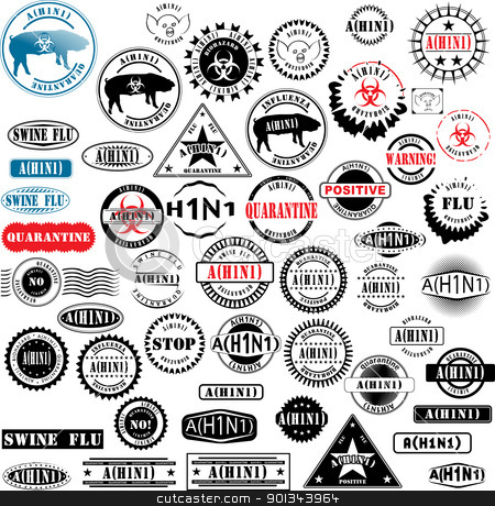 Ruber stamps H1N1 Flu stock vector clipart, Collection of rubber stamps about A(H1N1) flu. See other rubber stamp collections in my portfolio. by Ints Vikmanis