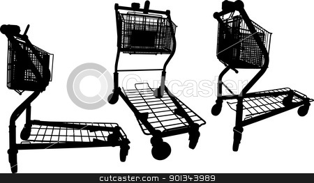Shopping carts stock vector clipart, Vector silhouettes of Building materials supermarket shopping cart by Ints Vikmanis